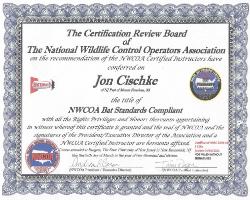 Jon Cischke - NWCOA Bat Standards Compliant Certificate