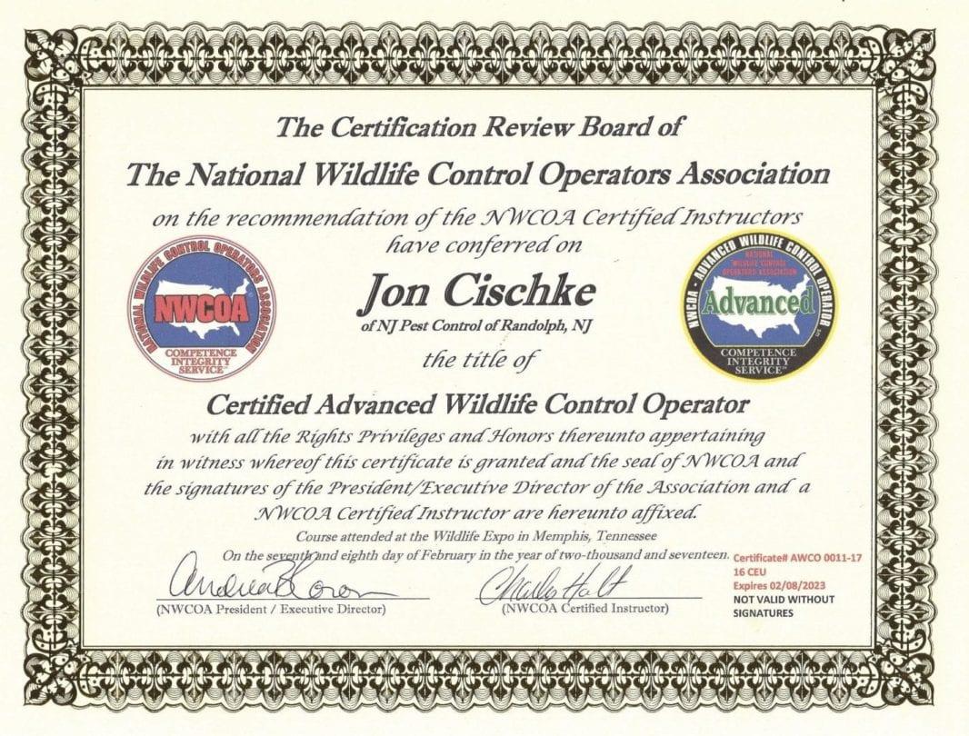 Jon Cischke - Certified Advanced Wildlife Control