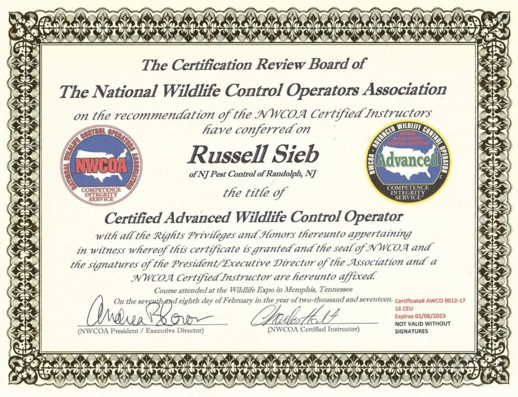 Russell Sieb - Certified Advanced Wildlife Control